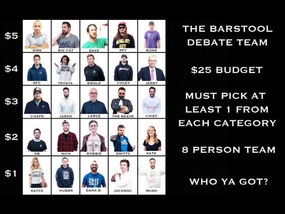 Who Would You Pick For The Barstool Debate Team?