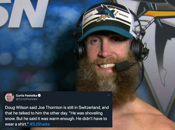 Joe Thornton Continues To Be The Most Interesting Man In The World