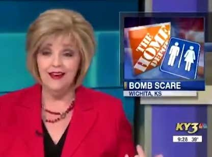 Must Watch Video: A News Anchor Figures Out Why a Guy Was Charged with a Bomb Scare in a Home Depot Bathroom as She Reads the Story