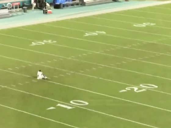 Tua Sitting Alone On An Empty Hard Rock Stadium Field At The 15 Yard Line (Where He Injured His Hip) After Taking The First Snaps Of His Professional Career Today Is So Fucking Awesome