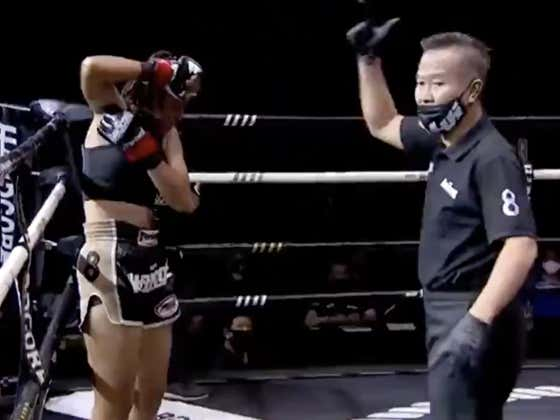 Hockey Tough: Muay Thai Fighter Doesn't Give A Single Heck, Pops Her Arm Right Back In To Keep The Fight Going