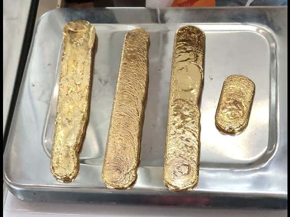 Do These Look Like Gold Bars Found Up A Man's Butt At An Indian Airport?