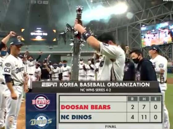 OUR NC DINOS ARE THE 2020 KOREAN SERIES CHAMPIONS AND JUST WON A GIGANTIC SWORD TROPHY!!!