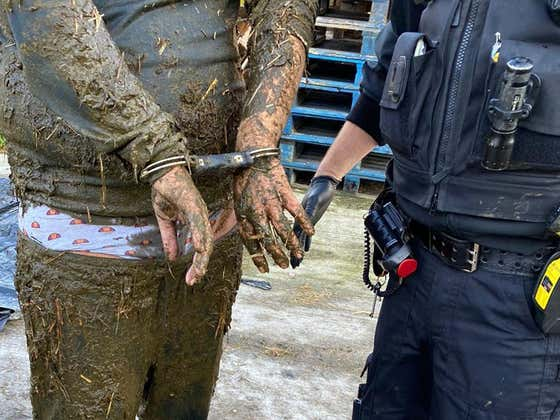 Reports Are Saying That A Sussex Man On The Run Ended Up In A Slurry Pool And Handcuffs But I'm Not So Sure