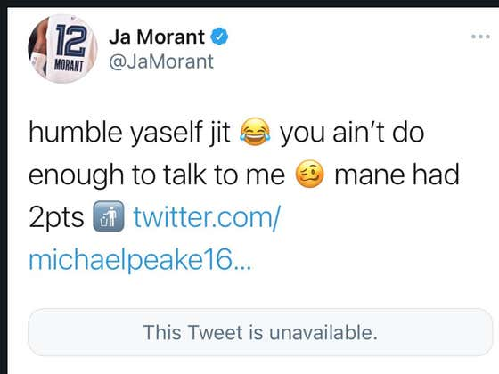 Austin Peay Player Hopped On Twitter Right After Game To Talk Shit To Ja Morant, Coach Makes Him Delete The Tweet Because He Scored 2 Points
