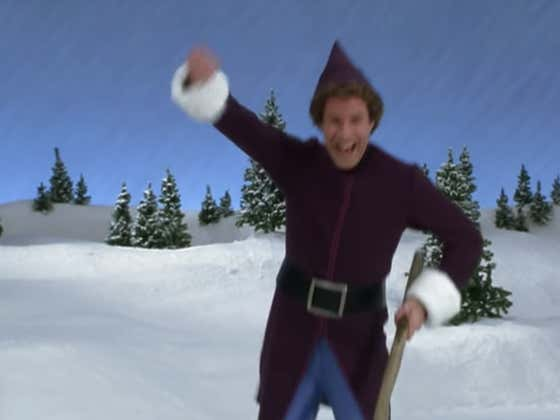 Buddy The Elf Being A Total Goon On The Ice Taking You Into The Holidays