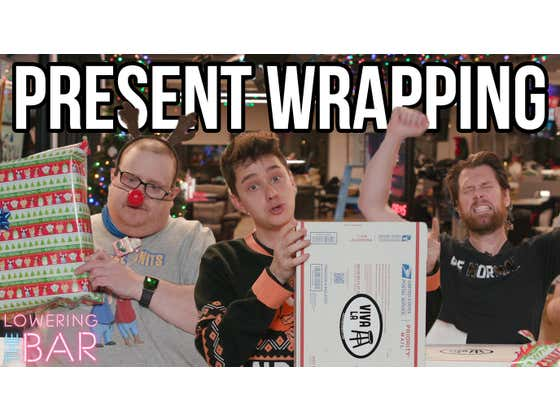 Barstool Competes To Wrap Last Second Christmas Gifts