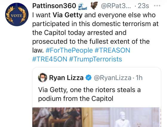 "People On Twitter Think Capitol Protester's Name Is ""Via Getty"" Because Of The Pictures Posted From Getty Images"