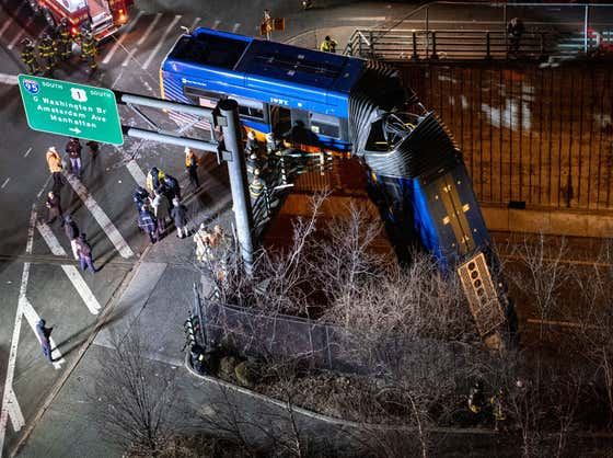 An MTA Bus Crashed And Dangled From An Overpass In A WILD Scene Straight Out Of A Superhero Movie Last Night In The Bronx