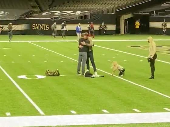 Brady And Brees Hug It Out On The Field One Last Time, And Brady Throws A TD To Brees' Son In An All Around Cool Moment