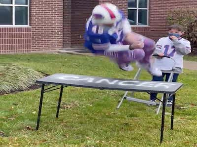 In Bills Mafia You Celebrate Kicking Cancer's Ass After 5 Months Of Chemo By Ringing The Bell, Throwing On Some Zubaz With A Bills Jersey And Helmet, Then Jumping Through A Table