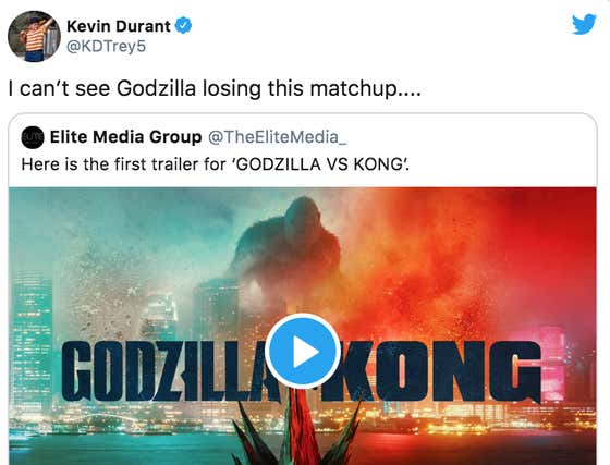 While The NFL Playoffs Were Going On Kevin Durant Was Out Here Wondering How Godzilla Is Going To Lose To King Kong