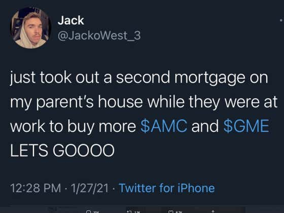22-Year-Old Jack West Becomes Internet Legend, Gets Numerous Sites To Publish Story About Secretly Mortgaging His Parent's House To Buy $70K In Gamestop Stock