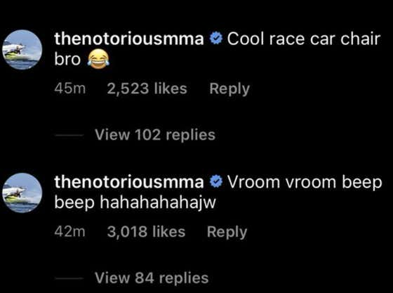 """Conor McGregor Is Clowning Nate Diaz's Gaming Chair On Instagram - """"Look Out We Got A Bad Ass In A Race Car Chair Over Here; Vroom Vroom Beep Beep"""""""