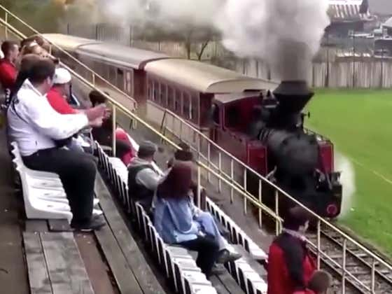 A Damn Train Driving Through A Soccer Stadium In The Middle Of The Game Is One Of The Wildest Things I've Seen In Sports