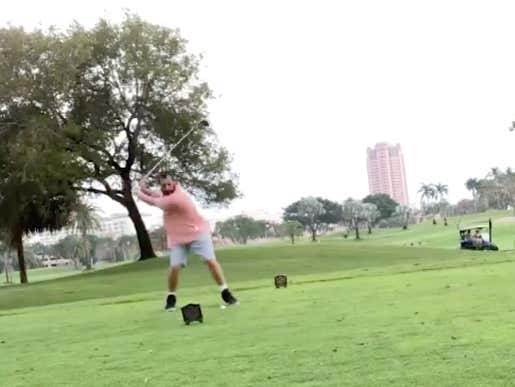 Adam Sandler Celebrated The 25th Anniversary Of Happy Gilmore By Absolutely SMASHING A Golf Ball Happy Gilmore Style