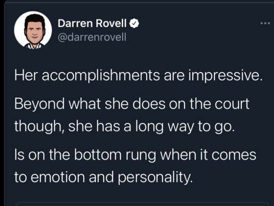 """Darren Rovell And His Unlimited Collection of Trash Takes Believes Naomi Osaka's Personality and Emotion Are """"Bottom Rung"""" And Thus Stopping Her From Being a Marketing Giant"""