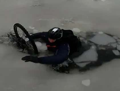 Video: Ice-Bikers On Boston's Charles River - Wait For It - Fall Through The Ice