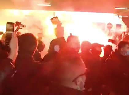 Fans Of The Greek Basketball Team Panathinaikos Were Lighting Off Flares And Going BONKERS For The Arrival Of Free Agent Signing Mario Hezonja At The Athens Airport