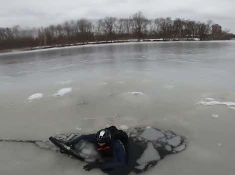 You Can't Call Yourself a True Hardo Until You've Ridden Your Bike Through the Ice and Into the Charles River