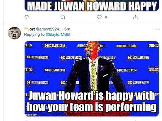 Michigan Fans Flooded Baylor's Twitter Account With A Bunch Of Pictures Of Juwan Howard Crying After They Lost To Kansas