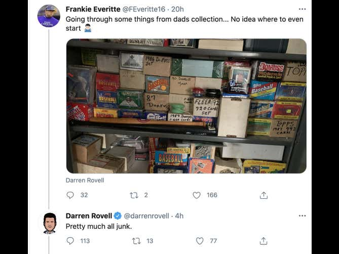 Darren Rovell Went Out Of His Way To Tell A Guy His Dead Father's Baseball Card Collection Was Crap