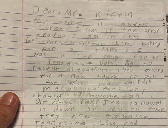 A Front-Running Third Grader Asked Lane Kiffin to Recruit Him as a Fan Because He Doesn't Want to Be a Tennessee Fan Anymore