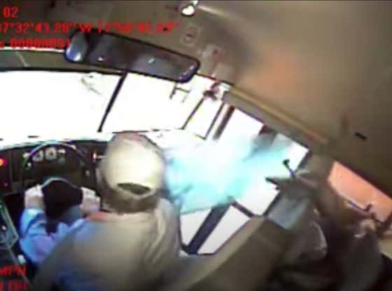 WILD Video Of A Deer Flying Through A School Bus Windshield And Directly Into A Sleeping Kid