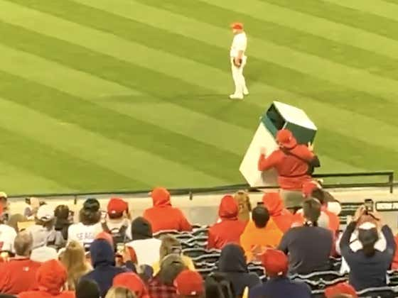 This Man With A Broken Arm Holding A Full Sized Trash Can In Center Field Banging It For Jose Altuve's At-Bat Is An American Hero