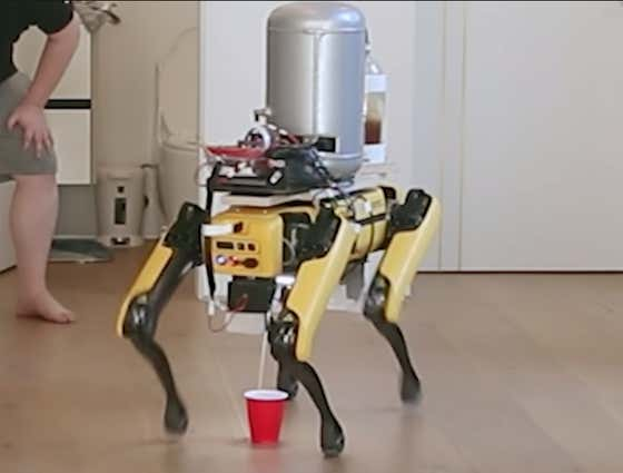 Point, Humans: A YouTuber Trained One Of Those Boston Dynamics Robot Dogs To Piss Beer Into A Cup