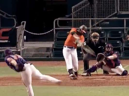 University Of Miami Slugger Alex Toral Absolutely Crushes This Ball And Sends It ON TOP OF A PARKING GARAGE