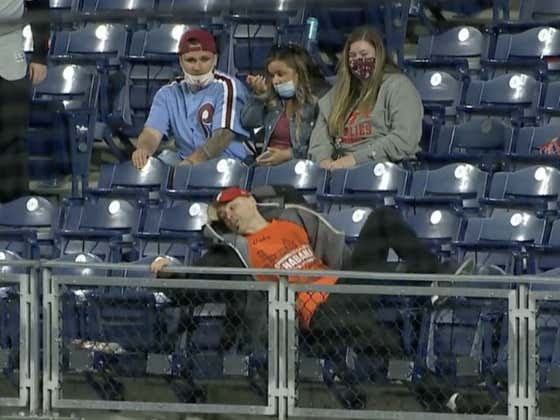 Foul Ball Guy Just Fell And Ate It SO HARD Going For This Home Run