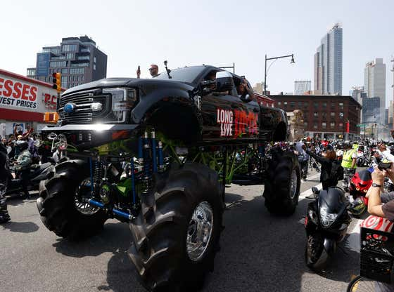 DMX Took His Last Ride Through New York In A Red Casket On Top Of A Monster Truck With Hundreds Of Bikers Following Before Having A Public Memorial At The Barclays Center