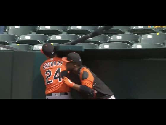 DJ Stewart Almost Got His Head Taken Off In That Stupid Bullpen In Oakland And Still Made The Catch Of The Day