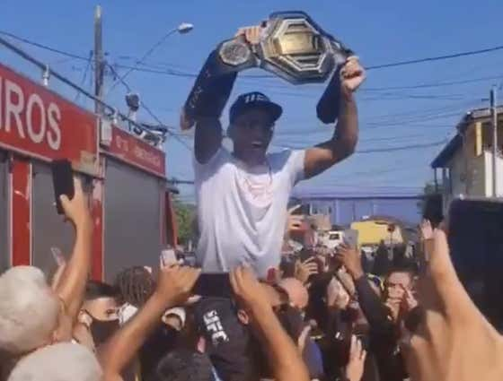 Charles Oliveira Brought The UFC Championship Back To His Hometown In Brazil And Partied In The Streets Today