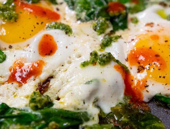 Pesto Spinach Fried Eggs
