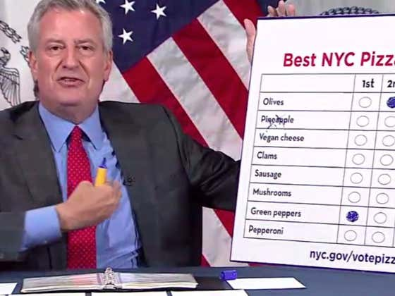 This Ding Dong Brain Bill de Blasio Went On TV And Called Green Peppers and BLACK OLIVES The Best Pizza Toppings