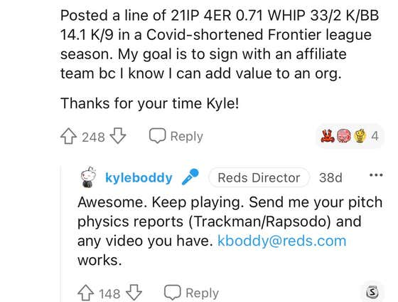 Hayden Shenefield Threw Three Scoreless Innings in His Pro Debut After Shooting His Shot With a Scout on Reddit