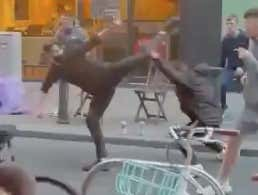 Video: Wild Street Fight In Dublin Has Chairs, Bottles, And Expert Karate Kicks Flying