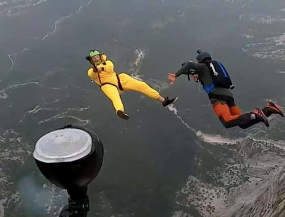 The Most Epic Thing You'll See today: BASE Jumping while Playing Paintball