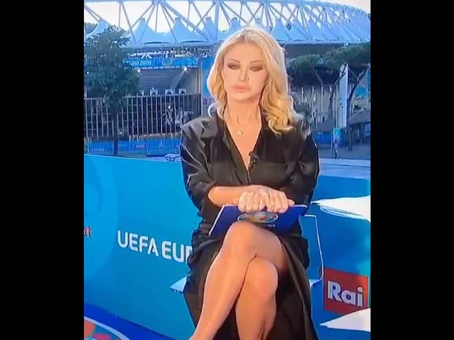 Italian TV Host Paola Ferrari Denies Flashing The Whole Country Of Italy Sharon Stone Style