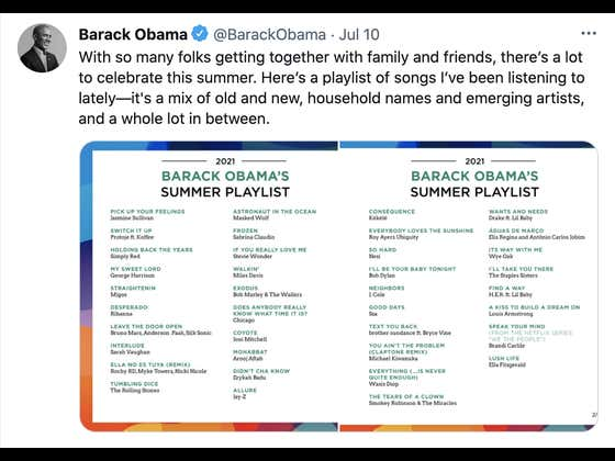 President Obama Released His Summer 2021 Playlist: A Breakdown