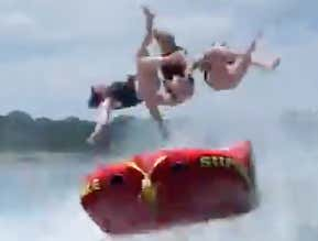 Dad Launches His Three Daughters To The Moon In An Absolutely Diabolical Tubing Send
