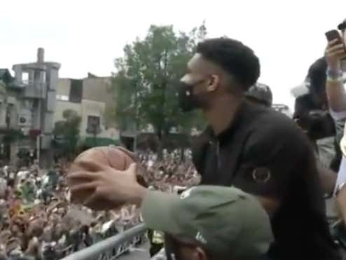Giannis Can't Miss Anymore - Trolls Every Fan Base By Launching A Free Throw Into The Crowd From The Parade Bus
