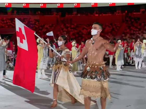 The Flag Bearer From Tonga Has Everyone Dripping Wet ... Again