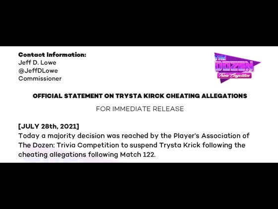 OFFICIAL STATEMENT ON THE TRYSTA KRICK CHEATING ALLEGATIONS