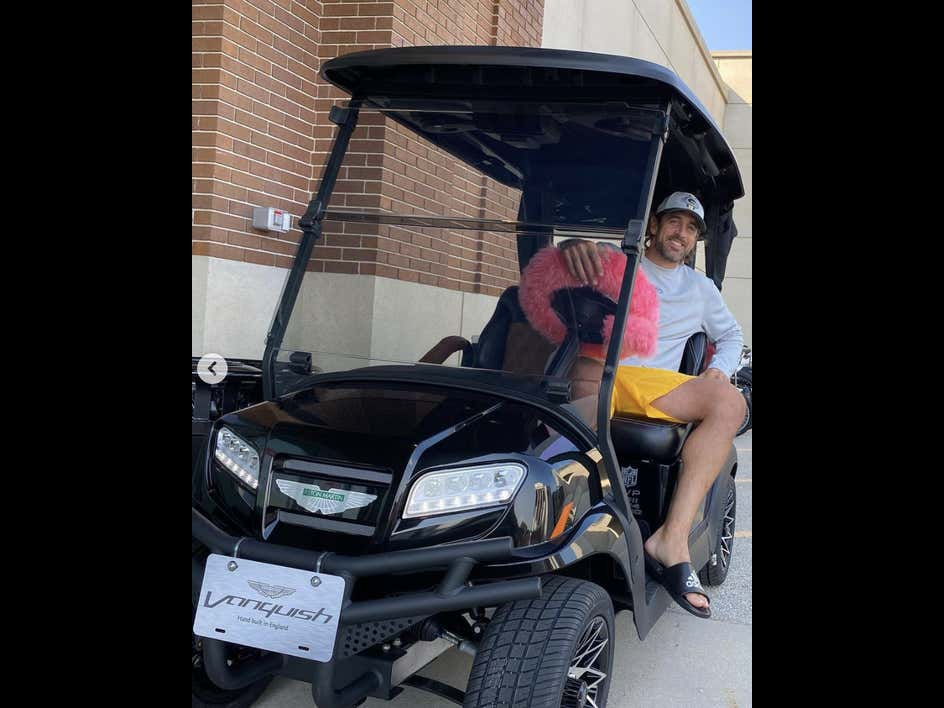 David Bakhtiari Gifted Aaron Rodgers A Personalized Aston Martin Golf Cart And It Is Fire