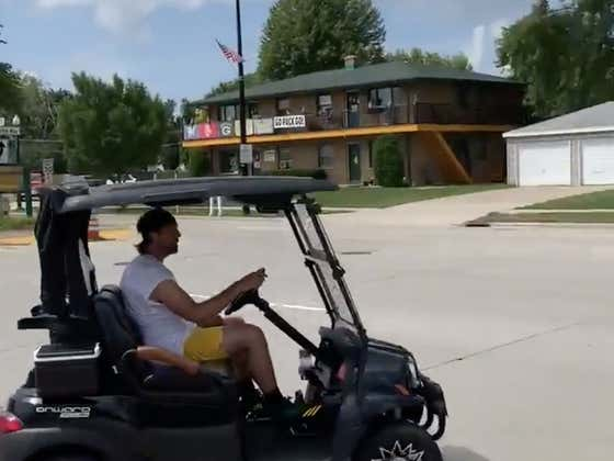 Nothing To See Here, Just Aaron Rodgers Driving His New Aston Martin Golf Cart Throughout Town