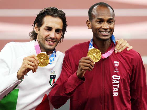 Another Feel Good Sportsmanship Moment From The Olympics, This Time Courtesy Of Italy's Gianmarco Tamberi And Qatar's Mutaz Essa Barshim In Men's High Jump