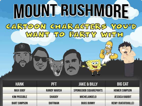 Mount Rushmore of Cartoon Characters To Get Fucked Up With